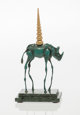 Salvador Dalí (1904-1989) Rhinocéros Cosmique Bronze with green cold patination 13 x 6-1/2 x 2 inches (33...
