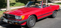 """Buzz Aldrin's 1988 Red Mercedes 560 SL Convertible with Lois Aldrin's """"MOONGAL"""" California License Plate, Orig..."""