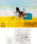 Animation Art:Production Cel, Peanuts A Charlie Brown Thanksgiving Snoopy and Woodstock Production Cel Setup and Animation Drawing Group of 3 (B... (Total: 3 Original Art)