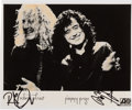 Music Memorabilia:Photos, Led Zeppelin - Robert Plant and Jimmy Page Signed Black and White Photo....
