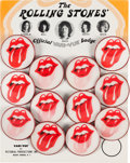 Music Memorabilia:Memorabilia, Rolling Stones Lenticular Pin-Back Buttons (Badges) Original Flicker Display (Circa 1971)....