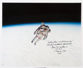 Explorers:Space Exploration, Bruce McCandless Signed Large STS-41-B Untethered EVA Color Photo. ...