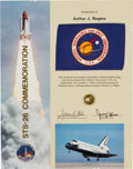 """Explorers:Space Exploration, Space Shuttle Discovery (STS-26) """"Return to Flight"""" FlownNASA Flag on Presentation Certificate. ..."""