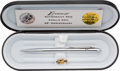"Explorers:Space Exploration, Apollo 17 Twenty-fifth Anniversary Eversharp ""Cernan Series"" Pen with Gold and Silver-Plated Command Model Pin Made with Flown..."