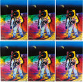 "Explorers:Space Exploration, Buzz Aldrin and Peter Max Signed Peter Max ""Apollo 11 - Walking on the Moon 1969/1999"" Large Prints (Six) Originally from Aldr... (Total: 6 Items)"