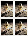 """Explorers:Space Exploration, Buzz Aldrin Signed Large Apollo 11 Lunar Surface """"Visor"""" Color Posters (Four) Originally from His Personal Collection. ... (Total: 4 Items)"""