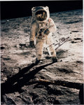 "Explorers:Space Exploration, Buzz Aldrin Signed Large Apollo 11 Lunar Surface ""Visor"" Color Photo Originally from His Personal Collection. ..."