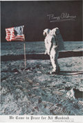"Explorers:Space Exploration, Buzz Aldrin Signed Large Apollo 11 Lunar Surface American Flag Color Poster, ""We Came in Peace for All Mankind..."", Originally..."