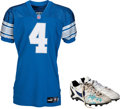 Football Collectibles:Uniforms, 1999 Jason Hanson Game Worn Detroit Lions Jersey, Pants, and Kicking Shoes....