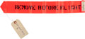 """Explorers:Space Exploration, NASA Kennedy Space Center: Numbered """"Remove Before Flight"""" Streamer with Attached Inventory Tags and 1973-Dated Parts Tag...."""