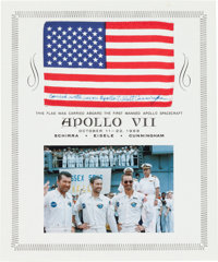 Apollo 7 Flown American Flag Originally from the Personal Collection of Mission Lunar Module Pilot Walt Cunningham, Cert...