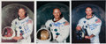 Explorers:Space Exploration, Apollo 11: Matching Individually-Signed White Spacesuit Color Photos. ... (Total: 3 Items)