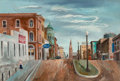 Fine Art - Painting, American, Aaron Bohrod (American, 1907-1992). Parkerville, USA. Oil onboard. 11 x 17 inches (27.9 x 43.2 cm). Signed lower center...