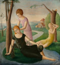 Fine Art - Painting, American, Nathalie Newking (American, 1904-1954). Three Women along aStream, circa 1923. Oil on canvas. 28 x 28 inches (71.1 x 71...