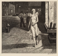 Martin Lewis (1881-1962) Night in New York, 1932 Etching on cream laid paper 8-1/2 x 8-7/8 inches