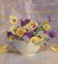Fine Art - Painting, American, Laura Coombs Hills (American, 1859-1952). Bowl of Pansies.Pastel on paper. 13-1/2 x 12 inches (34.3 x 30.5 cm) (sight)...