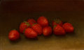 Fine Art - Painting, American, George Henry Hall (American, 1825-1913). Strawberries. Oilon canvas. 5-1/2 x 9 inches (14.0 x 22.9 cm). Signed indistin...