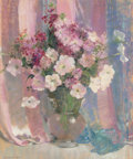 Fine Art - Painting, American, Laura Coombs Hills (American, 1859-1952). Still Life withPetunias. Pastel on paper. 21-1/4 x 17-1/4 inches (54.0 x43.8...