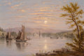 Fine Art - Painting, American, William Rickarby Miller (American, 1818-1893). Sunrise on LakeChamplain, circa 1885. Oil on board. 8-1/2 x 12-1/4 inche...