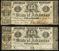 Obsoletes By State:Arkansas, (Little Rock), AR- State of Arkansas $2 1862-63 Cr. 40A Two Examples. ... (Total: 2 notes)
