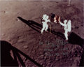 "Explorers:Space Exploration, Buzz Aldrin Signed (with ""Dr"" Title) Apollo 11 Lunar Surface Color Photo. ..."