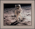 """Explorers:Space Exploration, Buzz Aldrin Signed Large Apollo 11 """"Visor"""" Color Photo with Novaspace Certificate of Authenticity, in Framed Display. ..."""