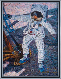 """Alan Bean Signed Limited Edition """"A Giant Leap"""" Giclée Canvas, #88/175, in Framed Display"""