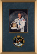 Explorers:Space Exploration, Apollo 11: Buzz Aldrin Signed White Spacesuit Color Photo in Framed Display with Apollo 11 Mission Patch. ...