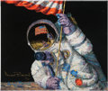 """Explorers:Space Exploration, Alan Bean Signed Limited Edition """"Red, White and Blue"""" Giclée Canvas, #10/75. ..."""