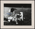 Explorers:Space Exploration, Charles Conrad Signed Large Apollo 12 Lunar Surface Surveyor Photo with Novagraphics Certificate of Authenticity, in Frame...