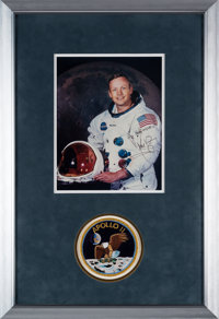 Apollo 11: Neil Armstrong Signed White Spacesuit Color Photo in Framed Display with Apollo 11 Mission Patch, with Certif...