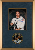 Explorers:Space Exploration, Apollo 11: Michael Collins Signed White Spacesuit Color Photo in Framed Display with Apollo 11 Mission Patch, with Certificate...