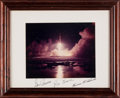 Explorers:Space Exploration, Apollo 17: Night Launch Color Photo Crew-Signed on Presentation Mat, in Framed Display. ...