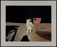 Edgar Mitchell Signed Large Apollo 14 Lunar Surface Flag Color Photo in Framed Display