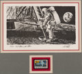 "Explorers:Space Exploration, Paul Calle Signed Limited Edition ""First Man on the Moon"" Print, #989/1000, in Framed Display. ..."