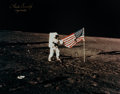 Explorers:Space Exploration, Charles Conrad Signed Large Apollo 12 Lunar Surface Flag Color Photo in Framed Display. ...