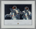 """Explorers:Space Exploration, Alan Bean Signed Limited Edition """"Heavenly Reflections"""" Print, also Signed by Charles Conrad, #442/850, in Framed Display...."""