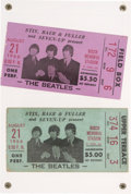 Music Memorabilia:Tickets, Beatles St. Louis Busch Memorial Stadium Concert Ticket Stubs (Two)(1966), in Acrylic Display....