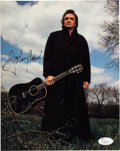 Music Memorabilia:Autographs and Signed Items, Johnny Cash Signed Color Photo....