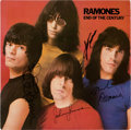 Music Memorabilia:Autographs and Signed Items, Ramones Signed End of the Century LP (Sire SRK 6077, 1980)....