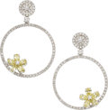 Estate Jewelry:Earrings, Colored Diamond, Diamond, White Gold Earrings. ...