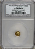 California Fractional Gold: , 1863 25C Liberty Octagonal 25 Cents, BG-734, R.6,--ImproperlyCleaned--NCS. Unc Details. PCGS Population...