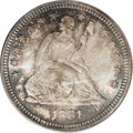 Seated Quarters: , 1881 25C MS67 PCGS. This sharply struck Superb Gem is adorned byelectric-blue and copper-brown on the obverse, mainly near...