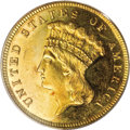 Proof Three Dollar Gold Pieces: , 1886 $3 PR63 Cameo PCGS. Frosty devices and glittering fieldsensure the proof status of this desirable three dollar gold p...