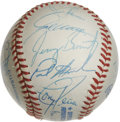 Autographs:Baseballs, 1996 Cleveland Indians Team Signed Baseball. From a dominant era inCleveland Indians history we offer this fine team signe...