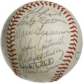 Autographs:Baseballs, Baseball Old Timers Multi-Signed Baseball. Several old timers fromthe middle of the 20th century appear in signatures on t...