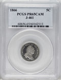 Patterns: , 1866 5C Five Cents, Judd-461, Pollock-535, R.5, PR65 Cameo PCGS. Abust of George Washington faces right on the obverse, th...