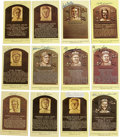 Autographs:Post Cards, Signed Gold Hall of Fame Plaques Lot of 12. One dozen signed goldHall of Fame plaques that we see here has each been signe...
