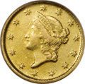 Gold Dollars: , 1852-D G$1 AU58 NGC. Variety 4-F, the only known variety. This lowmintage issue of 6,360 pieces is surpassed by only the 1...
