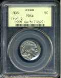 Proof Buffalo Nickels: , 1936 5C Type Two--Brilliant Finish PR64 PCGS. A meticulously strucknear-Gem with light golden-gray patina. Rotation under ...